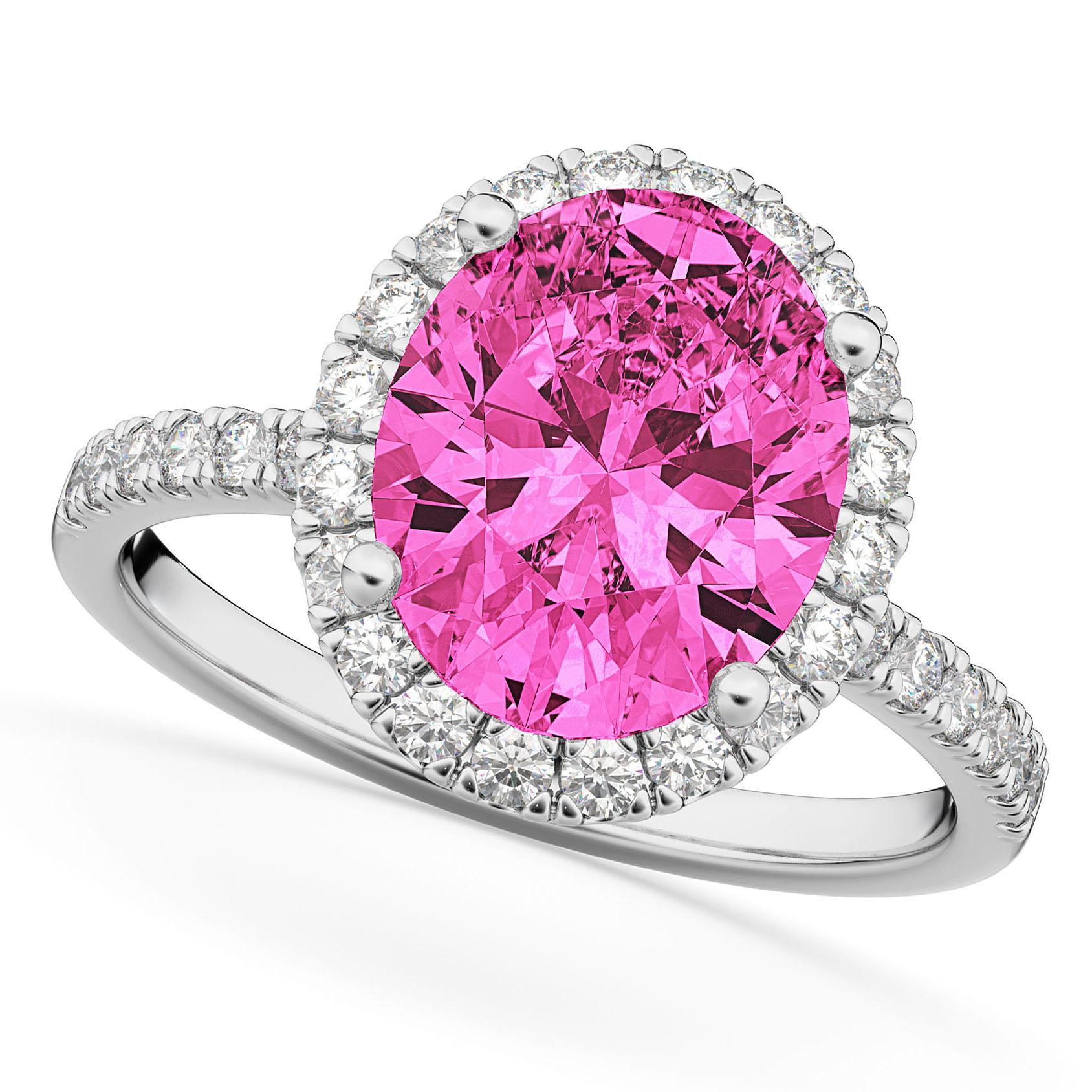 Oval Cut Halo Pink Tourmaline & Diamond Engagement Ring 14K White ...