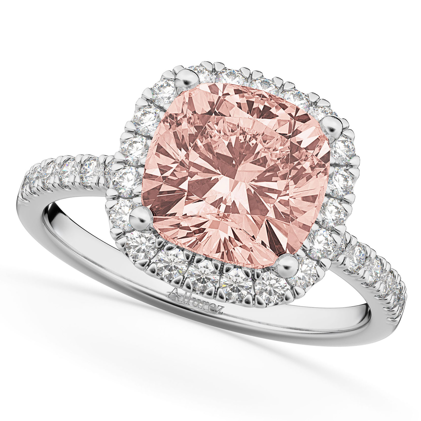 Cushion Cut Halo Morganite & Diamond Engagement Ring 14k White Gold ...