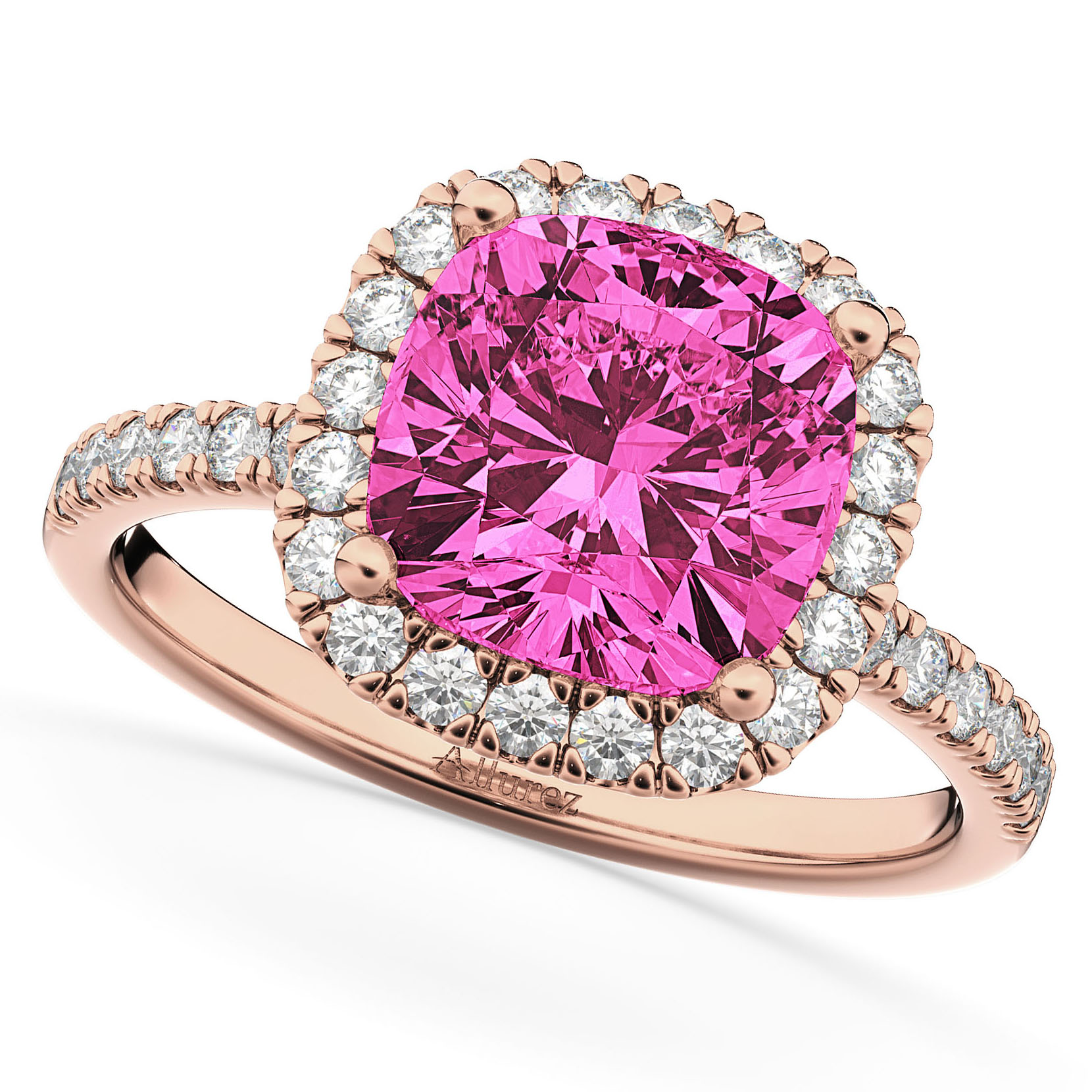 Cushion Cut Halo Pink Tourmaline & Diamond Engagement Ring 14k Rose ...