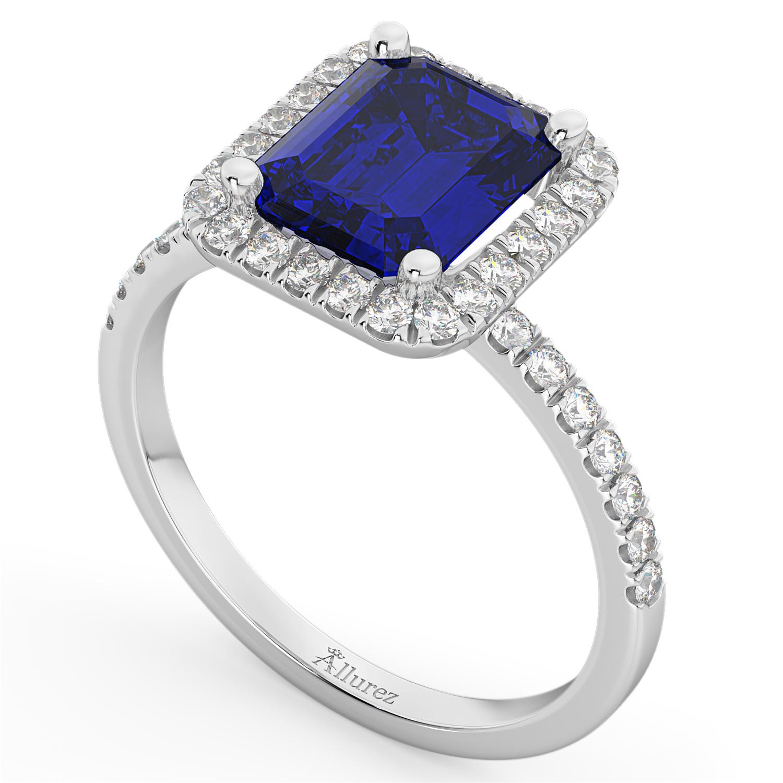 Blue Sapphire & Diamond Engagement Ring 14k White Gold (3.32ct)