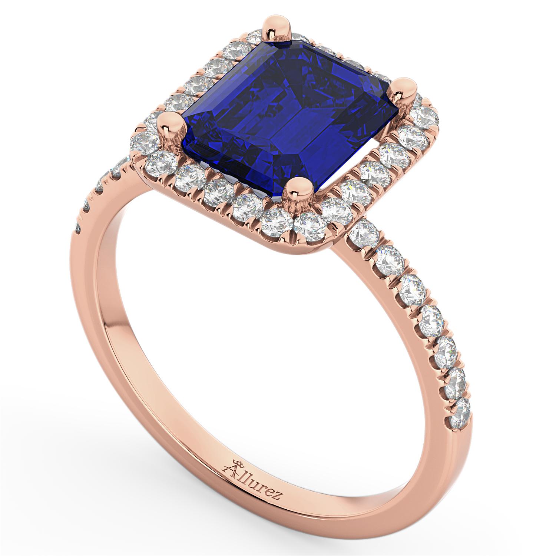Blue Sapphire Diamond Engagement Ring 18k Rose Gold (3.32ct)