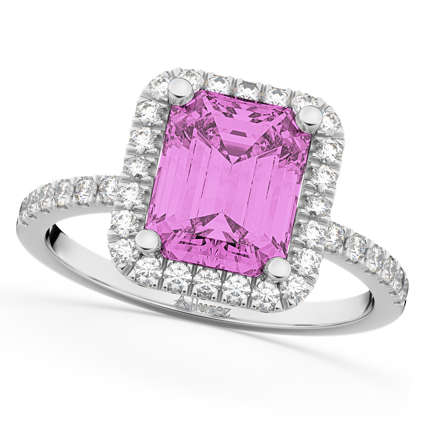 Pink Sapphire & Diamond Engagement Ring 14k White Gold 3.32ct