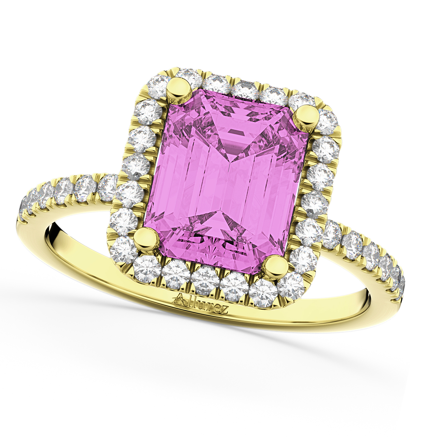 Pink Sapphire Diamond Engagement Ring 18k Yellow Gold 3.32ct - AD1870