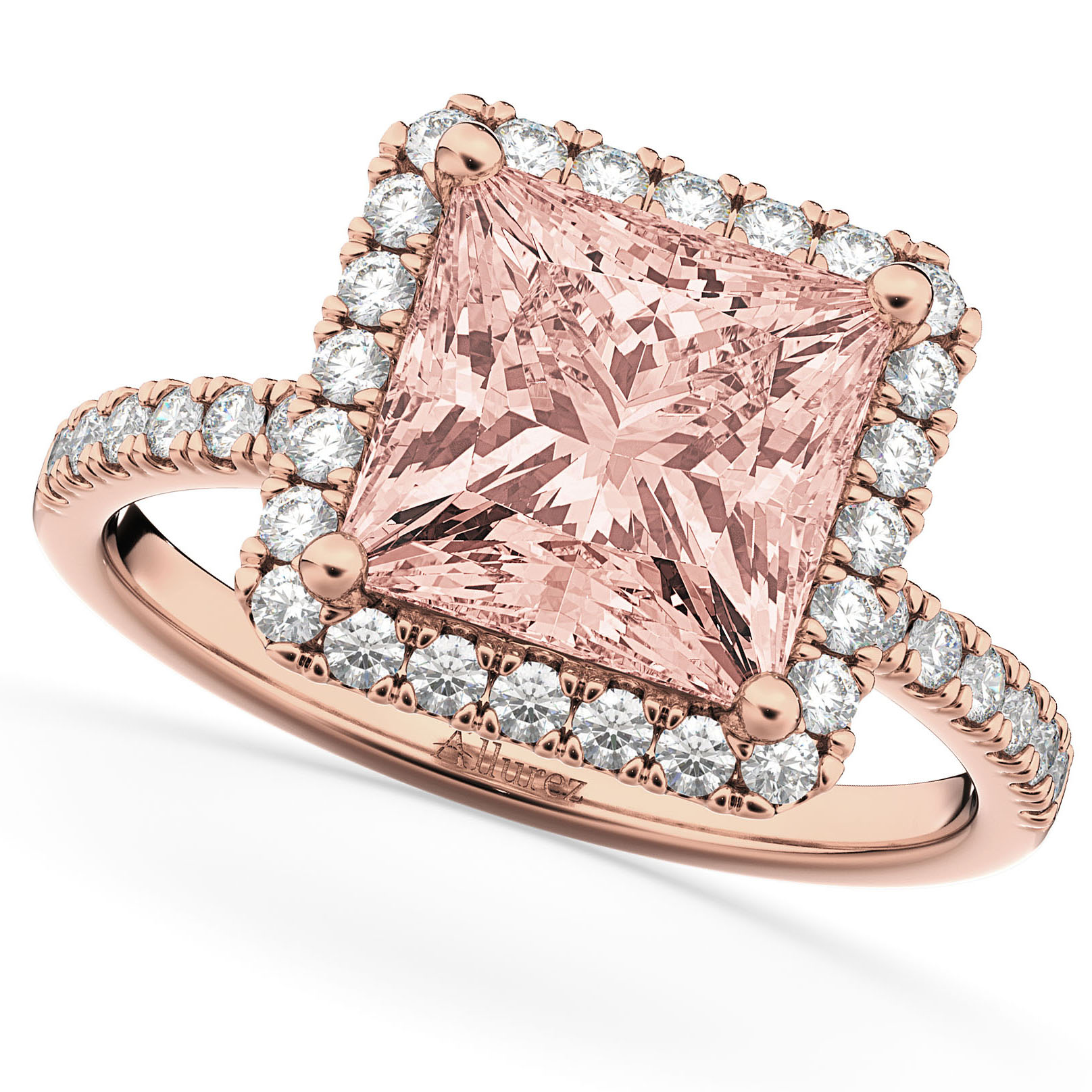 Princess Cut Halo Morganite & Diamond Engagement Ring 14K Rose Gold ...
