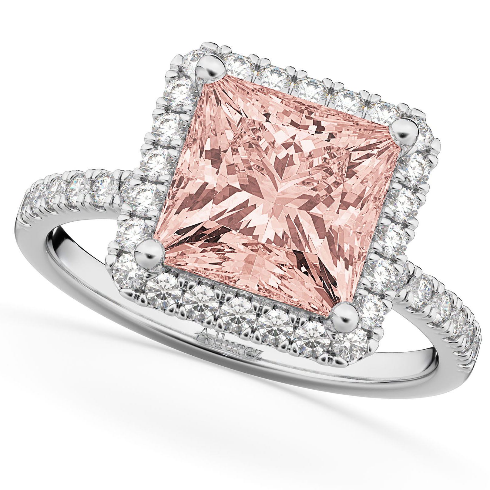 Princess Cut Halo Morganite & Diamond Engagement Ring 14K White Gold ...