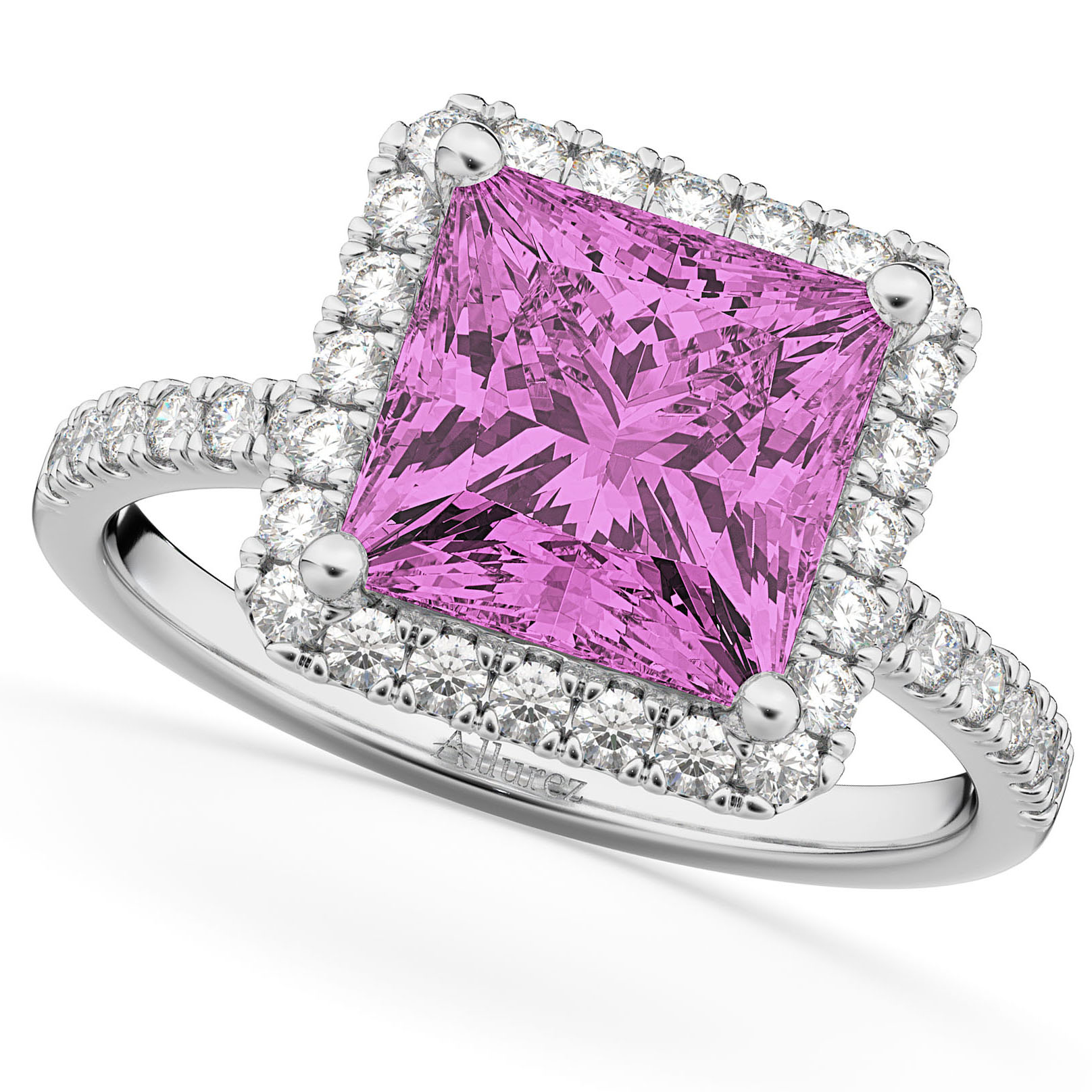 Princess Cut Halo Pink Sapphire & Diamond Engagement Ring 14K White ...
