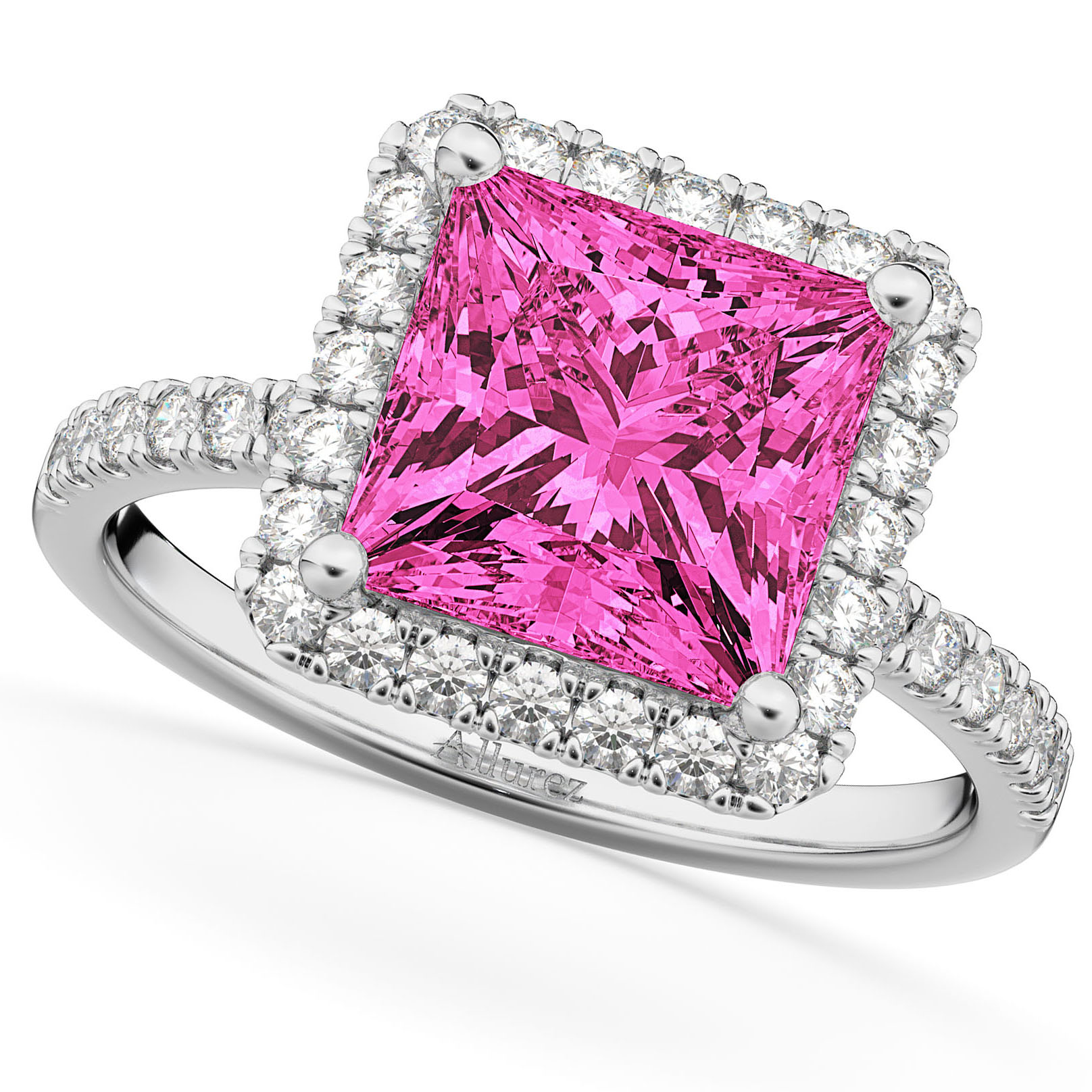 Princess Cut Halo Pink Tourmaline & Diamond Engagement Ring 14K ...