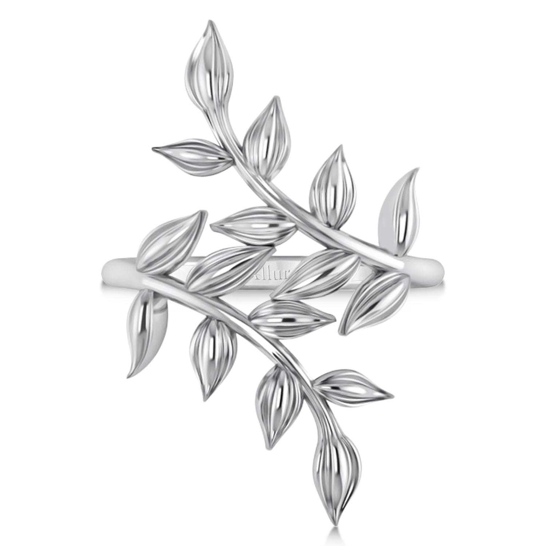 Olive Leaf Vine Plain Metal Fashion Ring 14k White Gold
