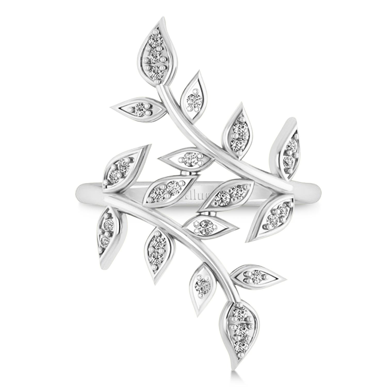 Diamond Olive Leaf Vine Fashion Ring 14k White Gold (0.28ct)