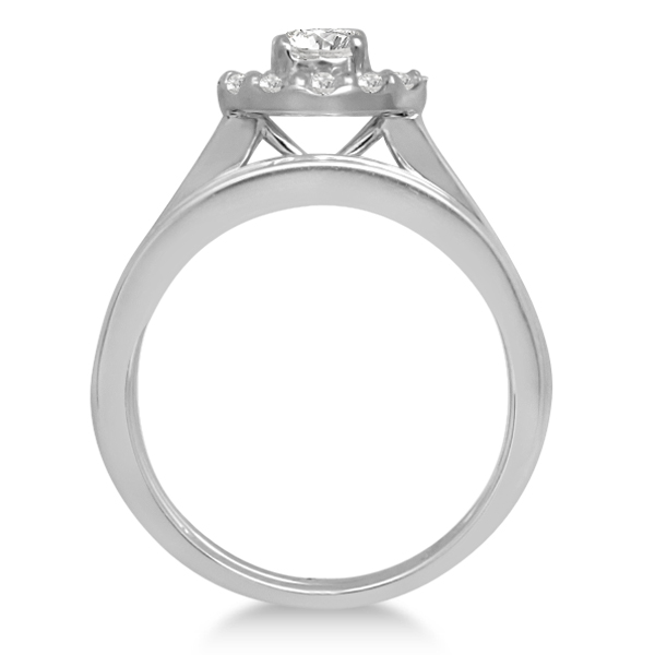 Diamond Halo Engagement Ring & Band 14K White Gold Bridal Set 1.52ct