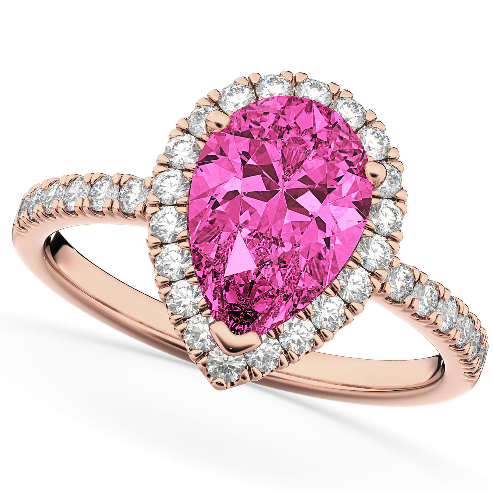 Pear Cut Halo Pink Tourmaline & Diamond Engagement Ring 14K Rose ...