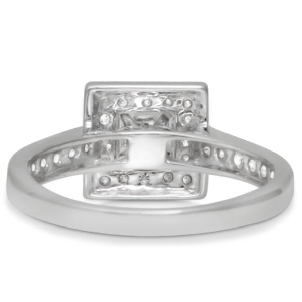 Princess Cut Diamond Halo Engagement Ring & Band 14K W. Gold 1.03ct