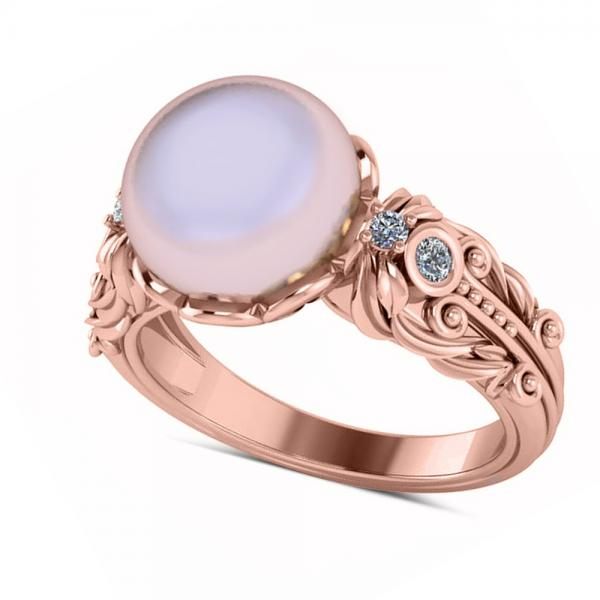 New Diamond & Freshwater Pearl Fashion Ring 14k Rose Gold 10mm 0.10ct QB85