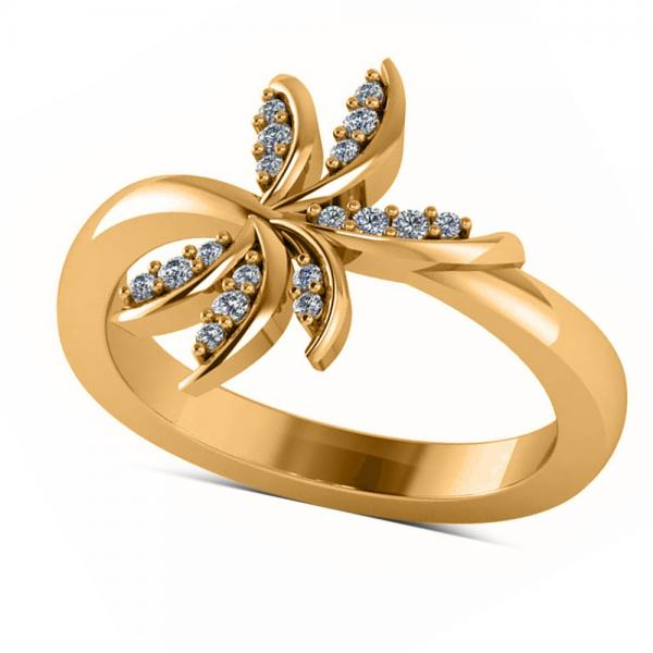 Diamond Accented Palm Tree Fashion Ring in 14k Yellow Gold (0.12ct)