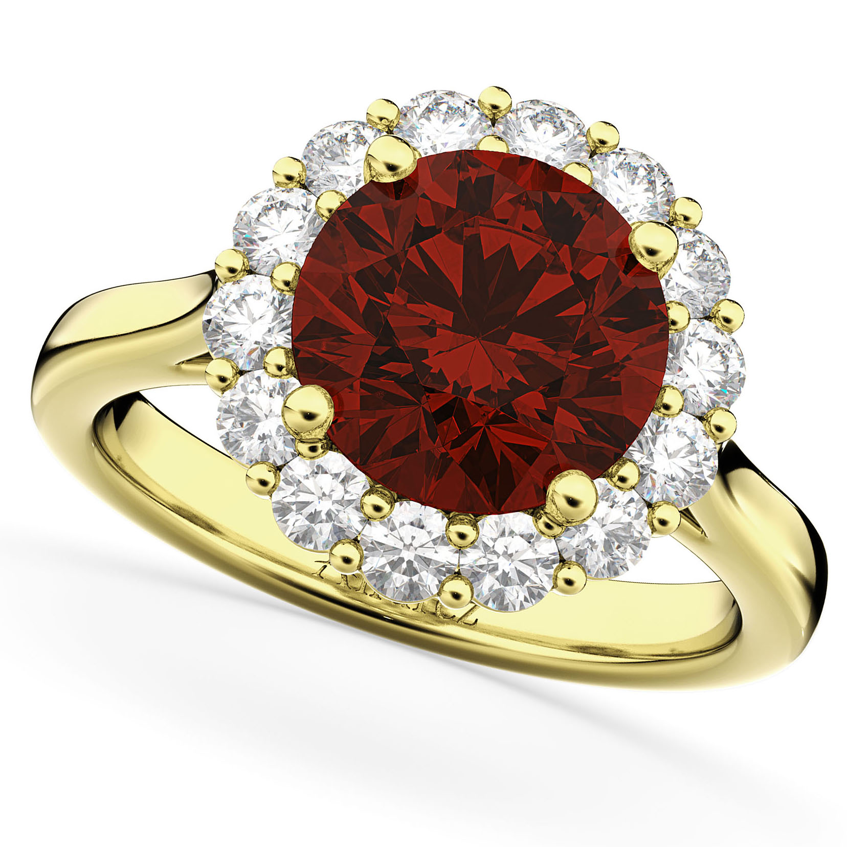 Allurez Halo Round Garnet and Diamond Engagement Ring 14K...