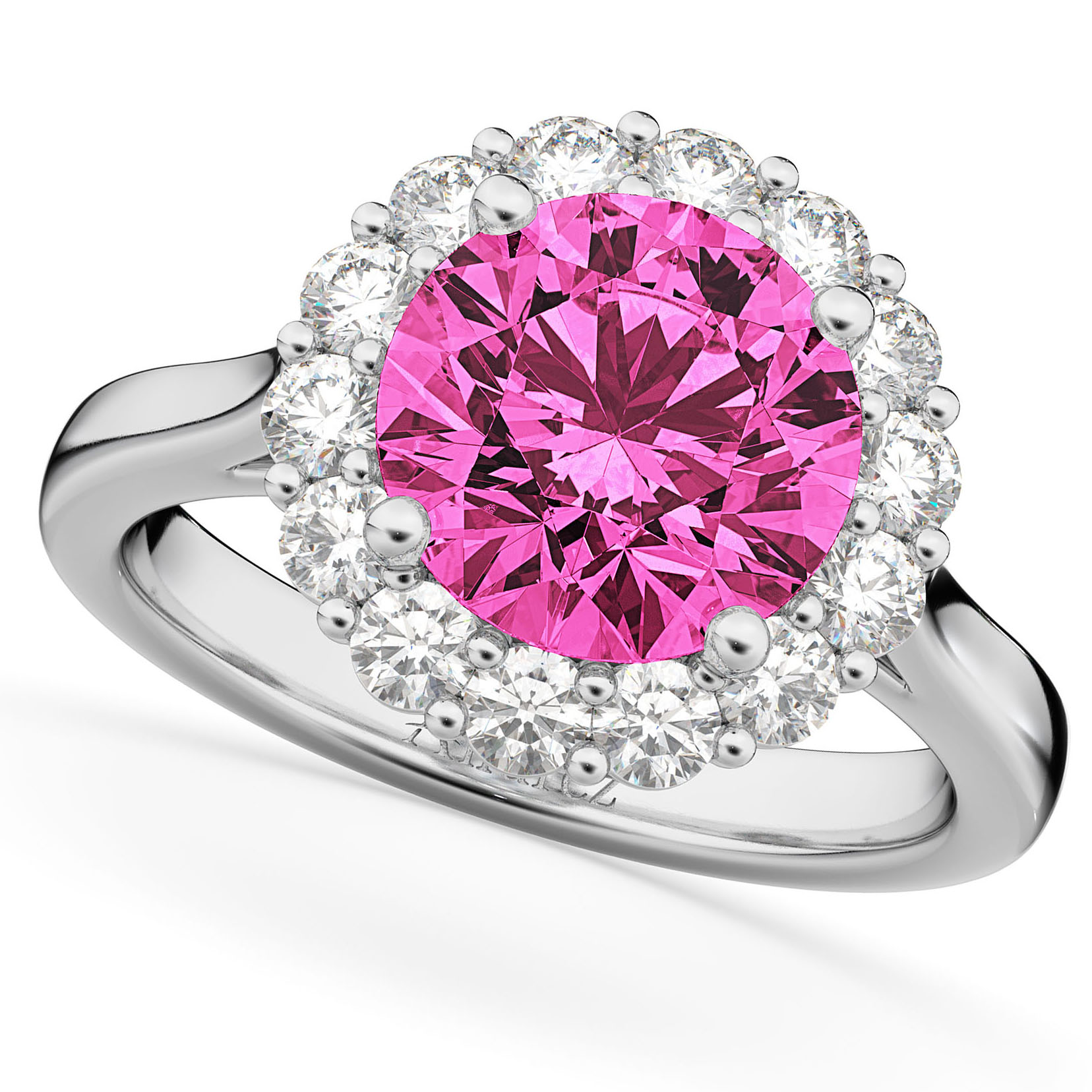 Halo Round Pink Tourmaline & Diamond Engagement Ring 14K White Gold ...