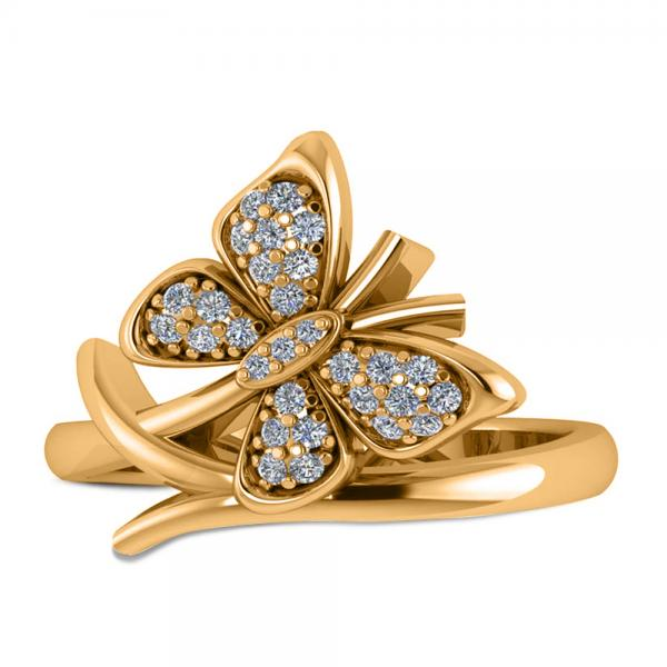 Diamond Accented Butterfly Fashion Ring in 14k Yellow Gold (0.28ct)