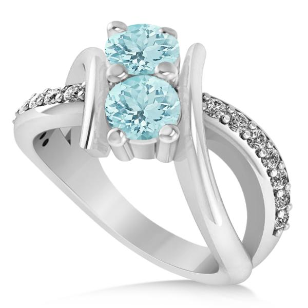 Beautiful Aquamarine Diamond Bypass Split Two Stone Ring 14k White Gold 1.28ct AK41