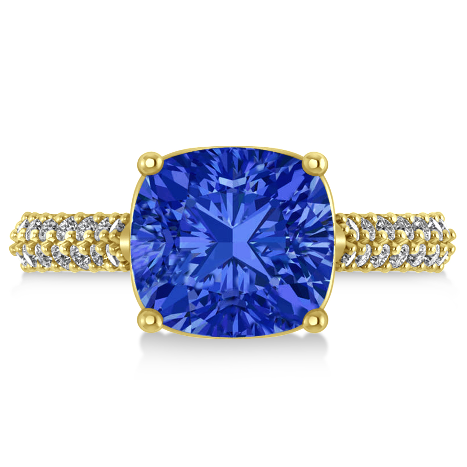 Cushion Cut Blue Sapphire & Diamond Ring 14k Yellow Gold (4.42ct)