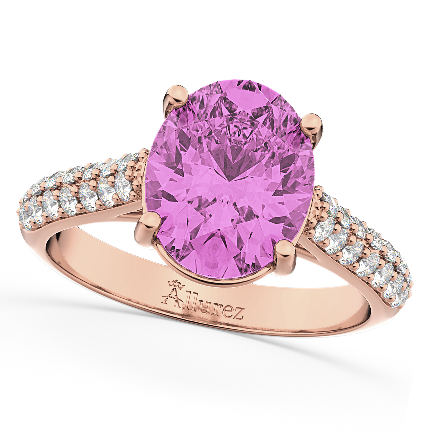 Oval Pink Sapphire & Diamond Engagement Ring 14k Rose Gold 4.42ct