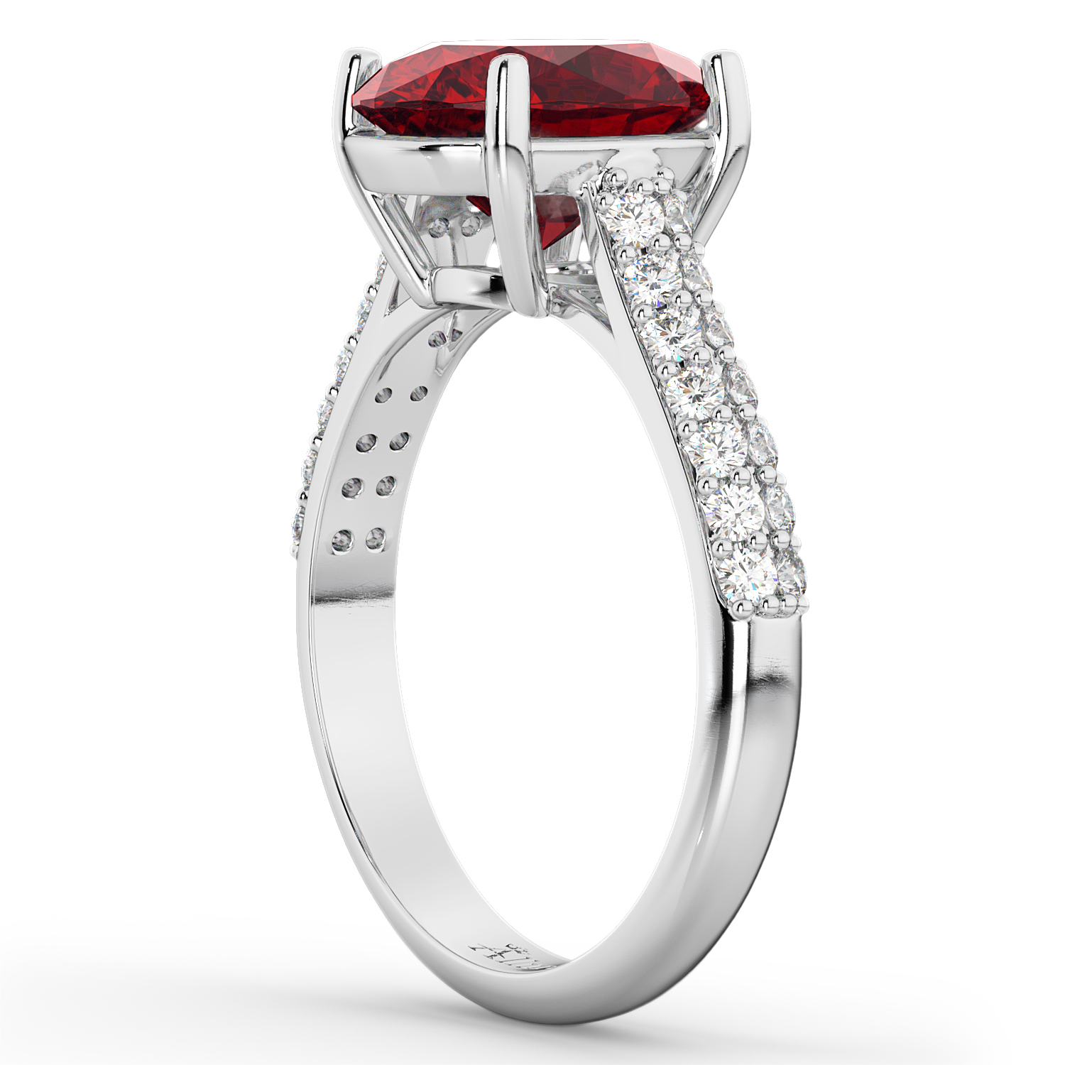 Oval Ruby & Diamond Engagement Ring 14k White Gold (4.42ct)