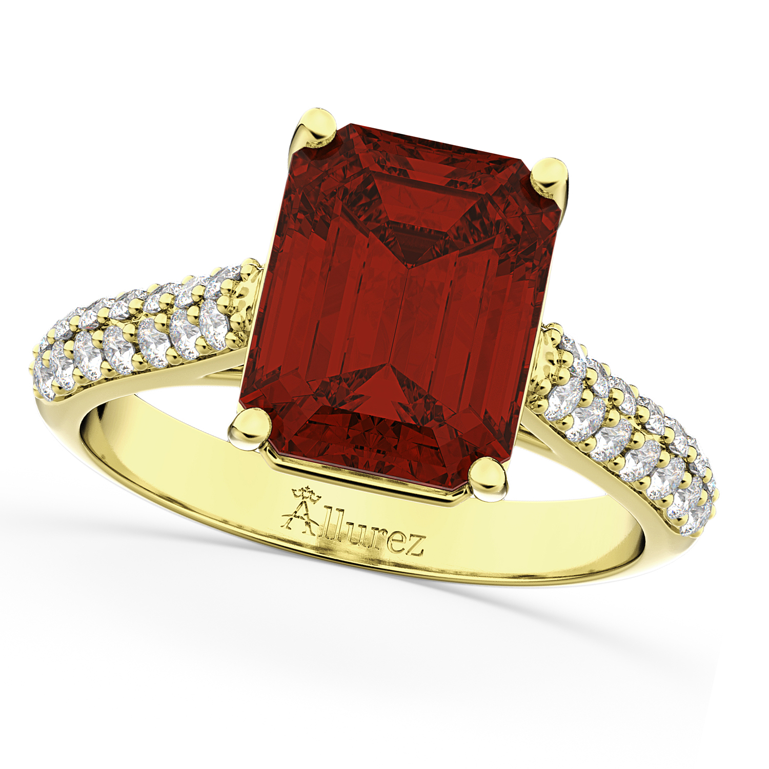 Allurez Emerald-Cut Garnet and Diamond Ring 14k Yellow Go...