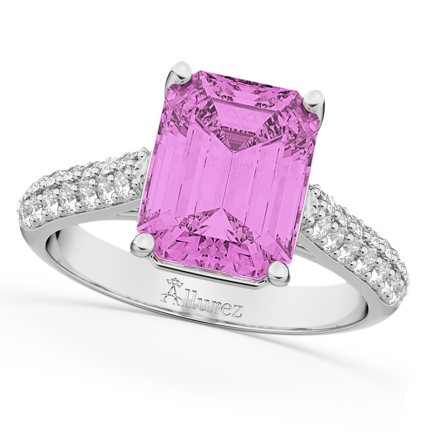 Emerald-Cut Pink Sapphire & Diamond Ring 18k White Gold 5.54ct - AD1934