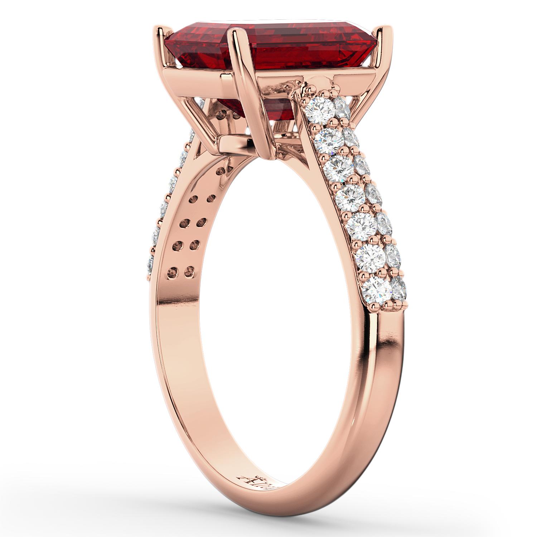 Emerald-Cut Ruby & Diamond Engagement Ring 18k Rose Gold (5.54ct)