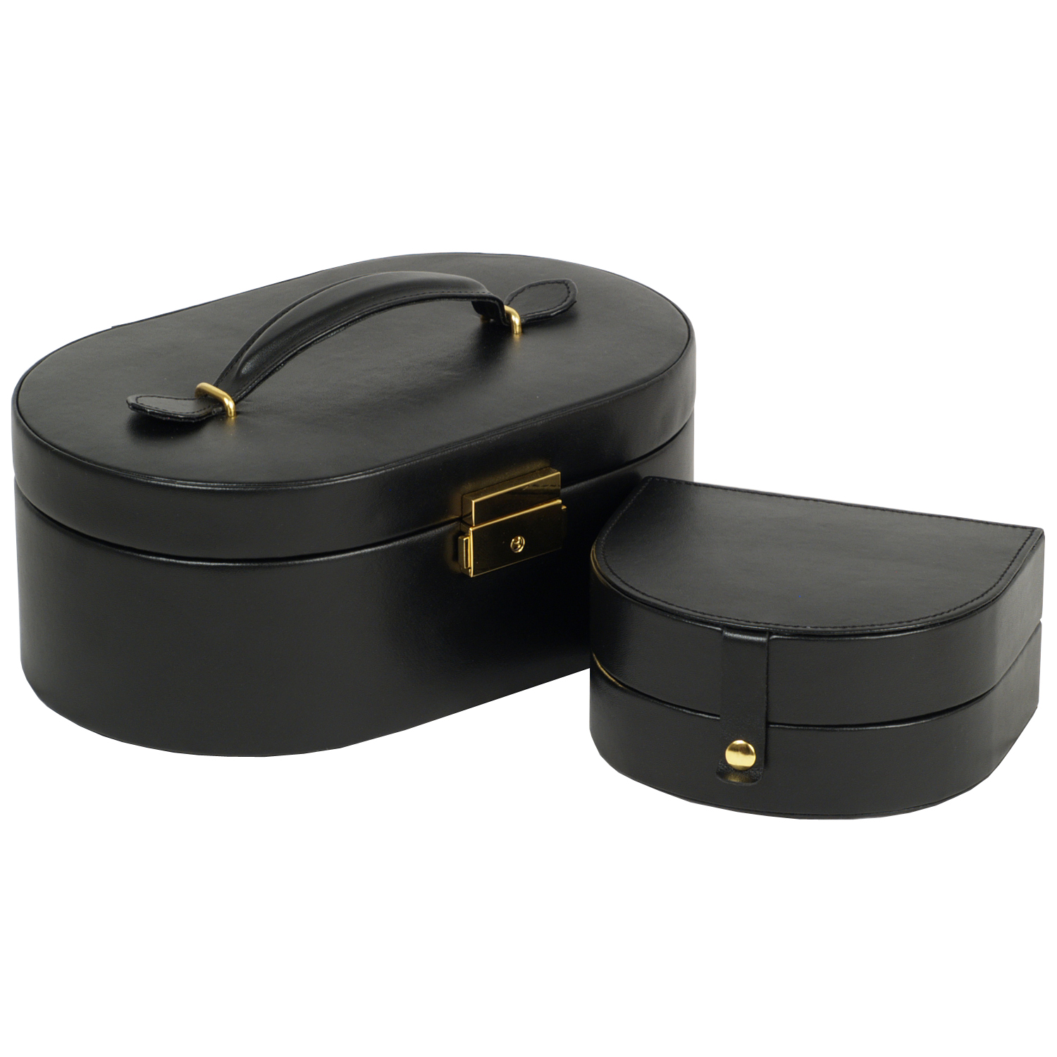 Women's Oval Faux Leather Jewelry Box w/ Mirror, Removable Travel Case