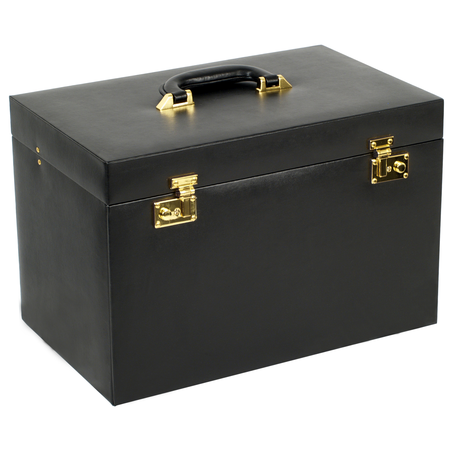 Large Mirrored Jewelry Box w/ 6 Drawers Removable Travel Case Key Lock