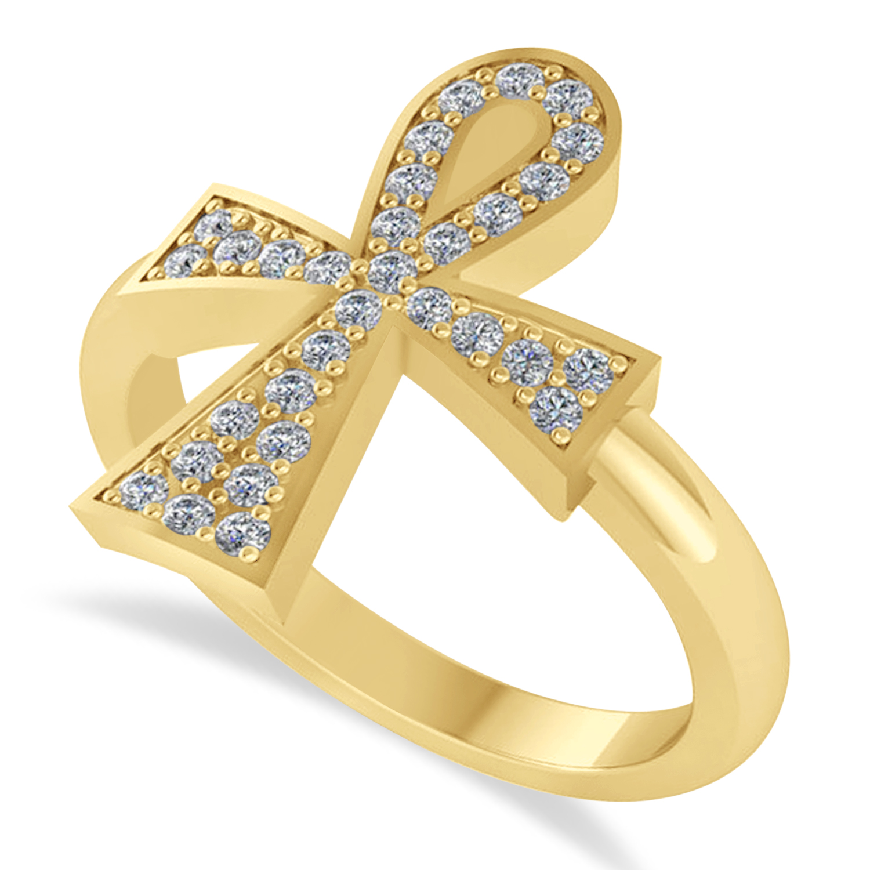 Allurez Diamond Ankh Egyptian Cross Ring 14K Yellow Gold ...