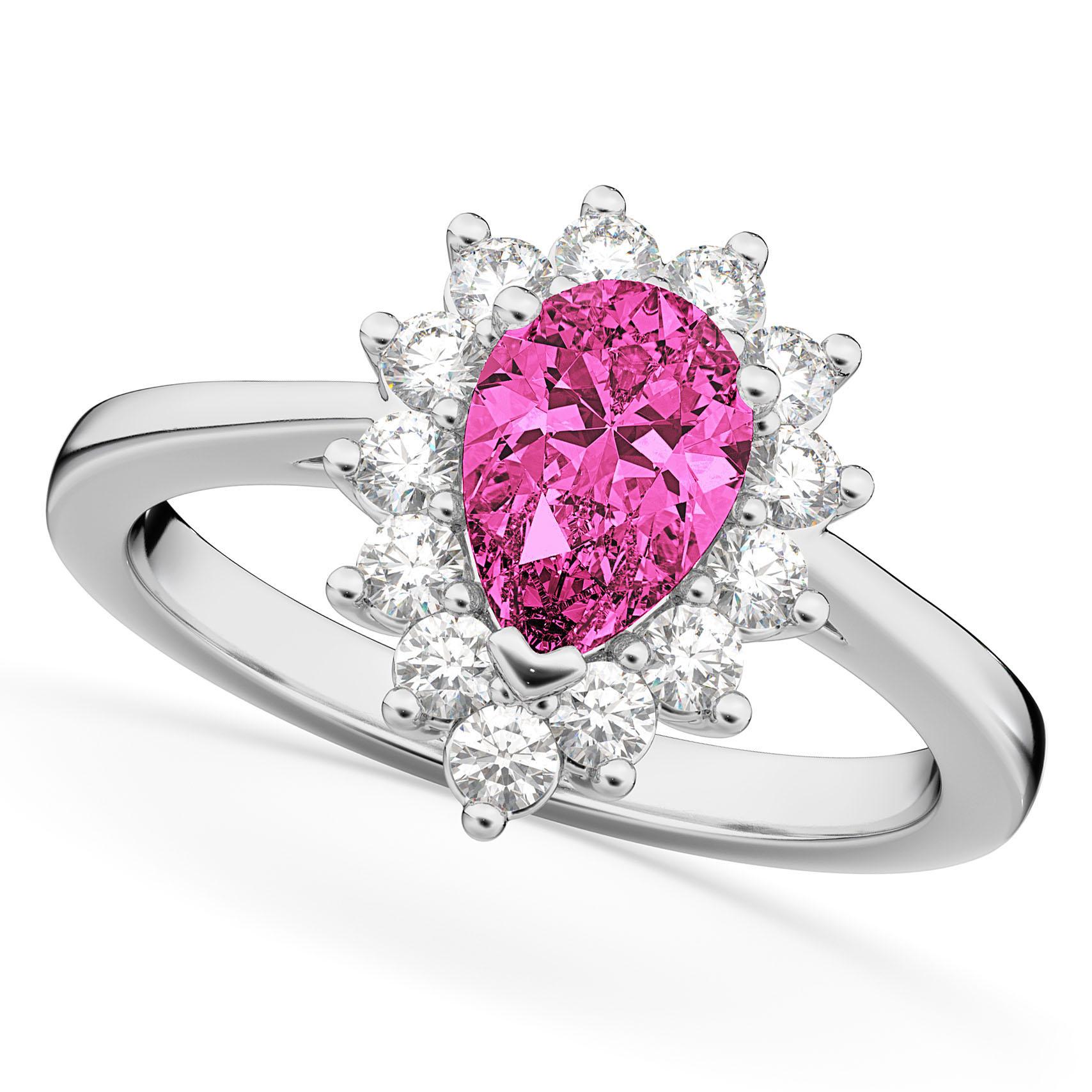 Halo Pink Tourmaline & Diamond Floral Pear Shaped Fashion Ring 14k ...