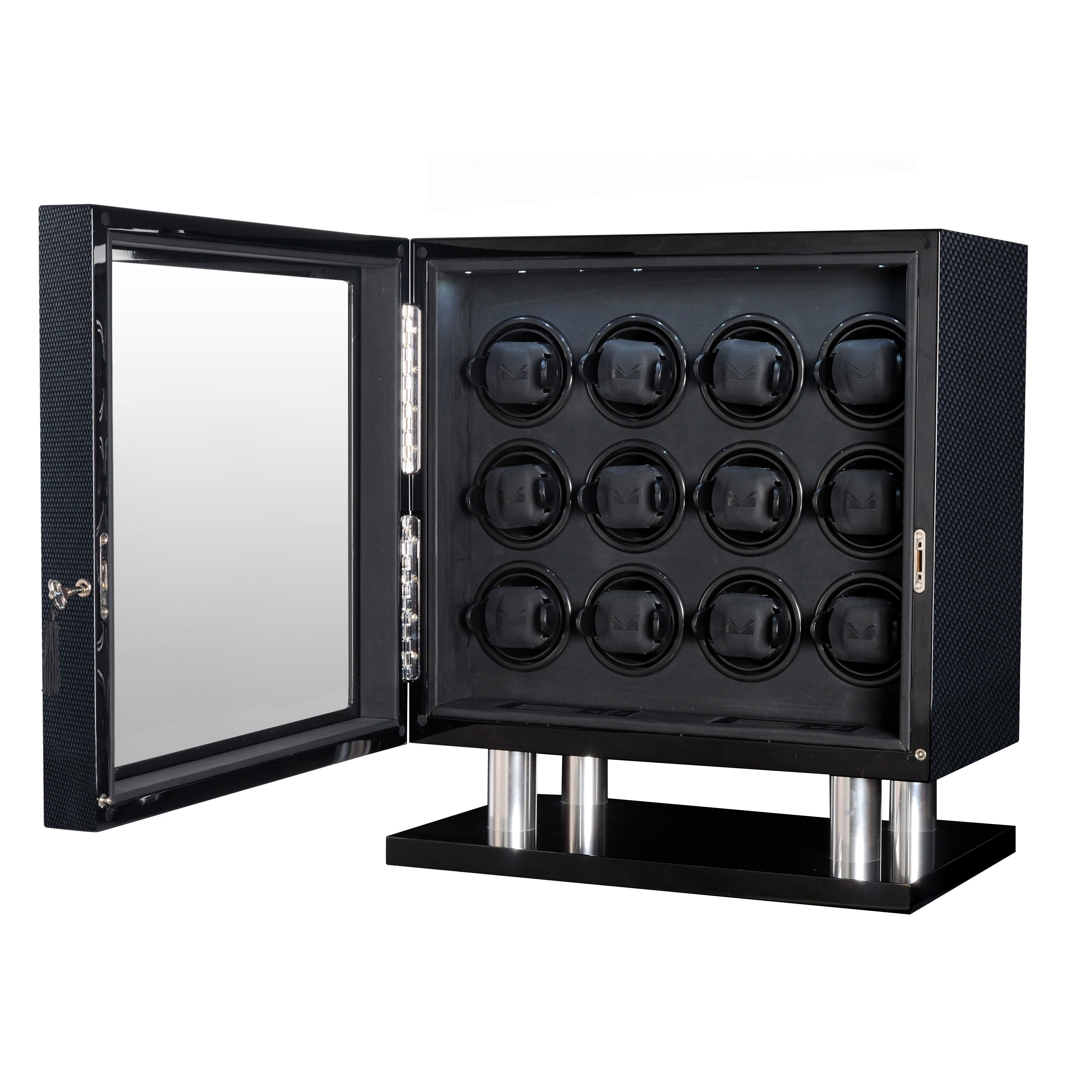 Allurez High Gloss Carbon Fiber Twelve Watch Winder w/ Bl...