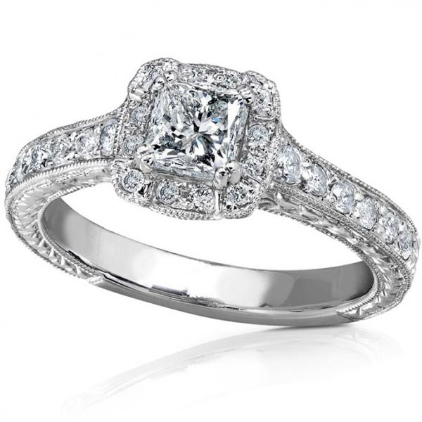 Allurez Vintage Style Princess Cut Diamond Engagement Rin...