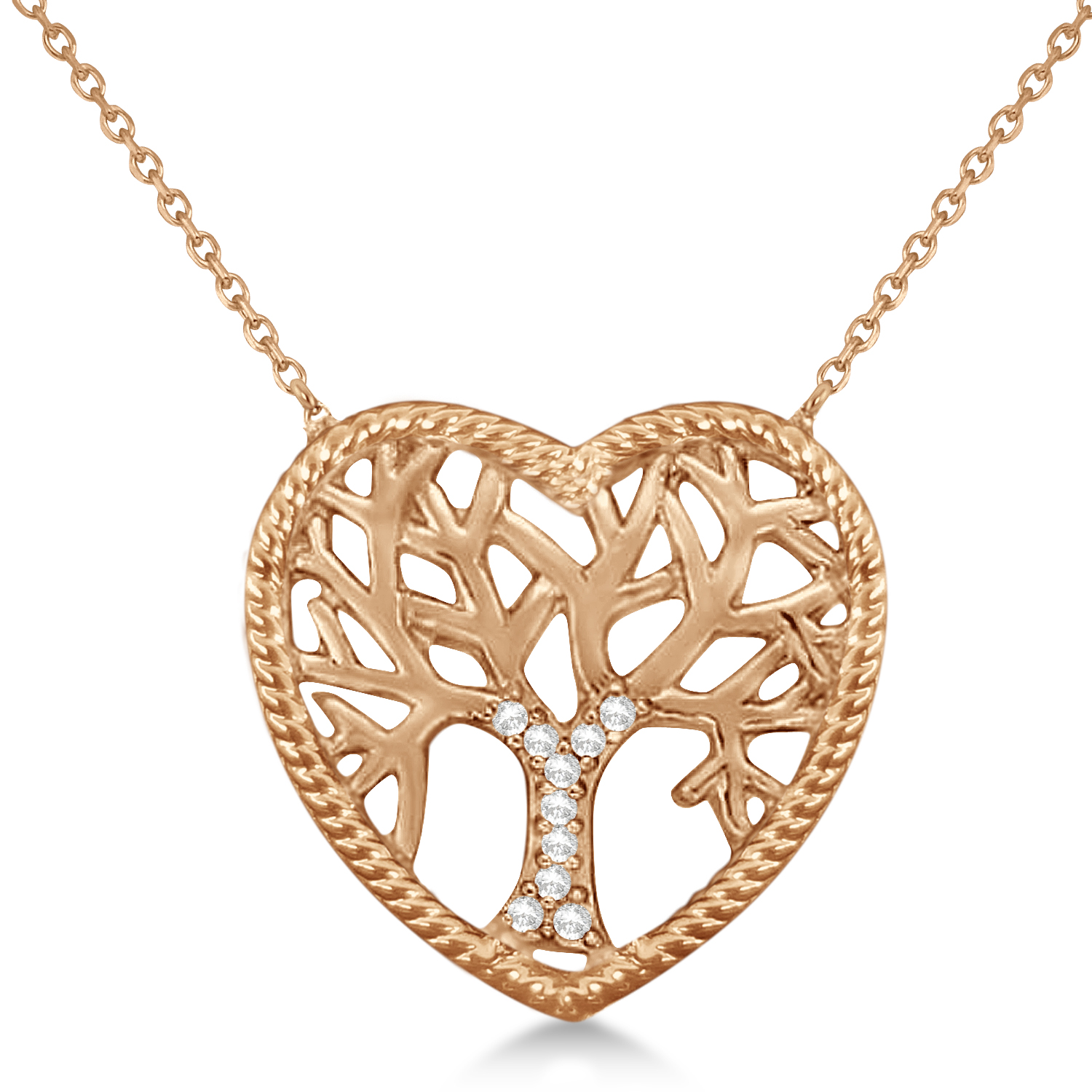 57a725a450 Diamond Heart Family Tree of Life Pendant Necklace 14k Rose Gold (0.05ct)