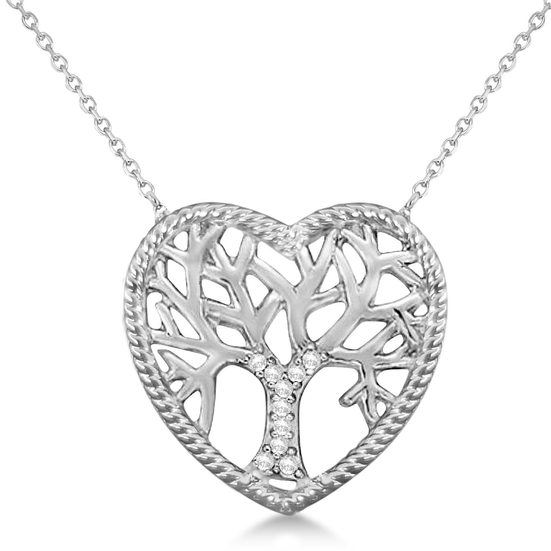 Diamond heart family tree life pendant necklace 14k white gold 005ct diamond heart family tree of life pendant necklace 14k white gold 005ct aloadofball Gallery