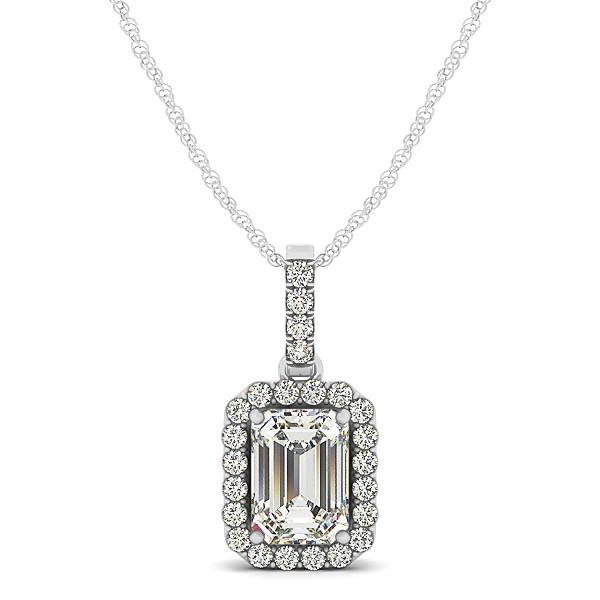 Emerald cut halo pendant necklace 14k white gold 125ct allurez emerald cut halo pendant necklace 14k white gold 125ct aloadofball Choice Image