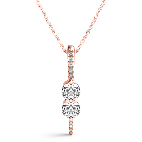 Two Stone Diamond Drop Pendant Necklace 14k Rose Gold (0.34ct)