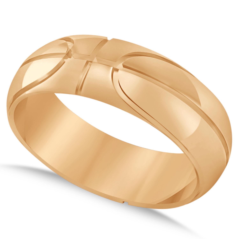 Mens Basketball Eternity Sports Band Ring 14k Rose Gold Allurez
