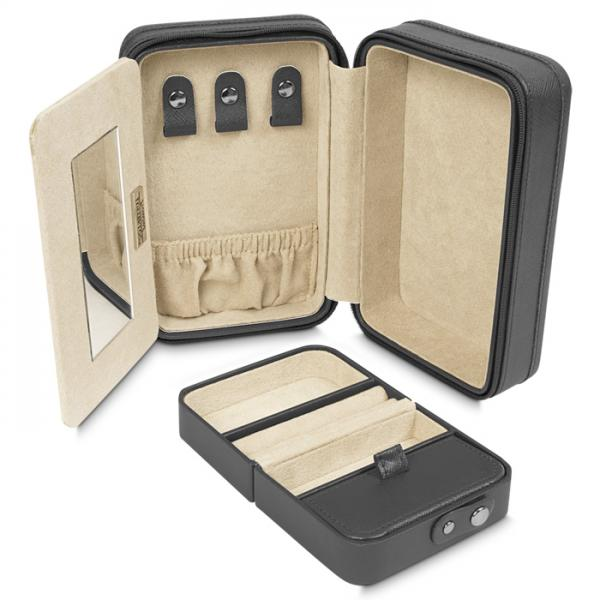 Women's Zippered Travel Jewelry Case with Mirror Removable Travel Box