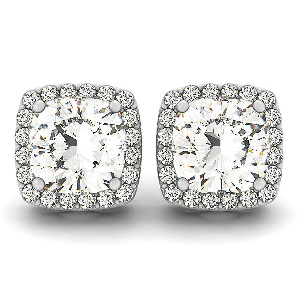Cushion Cut Diamond Halo Stud Earrings 14k White Gold 1 00ct