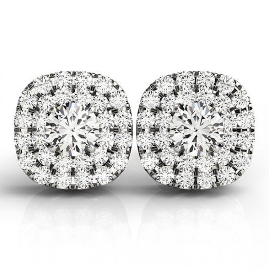 Round Cut Double Cushion Halo Stud Earrings 14k White Gold 1 50ct