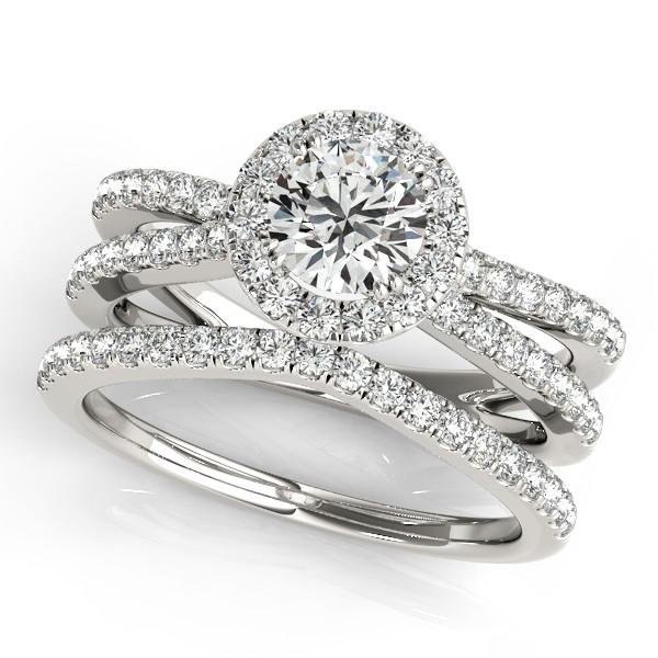 Allurez Diamond Frame Split Shank Ring and Band Bridal Se...