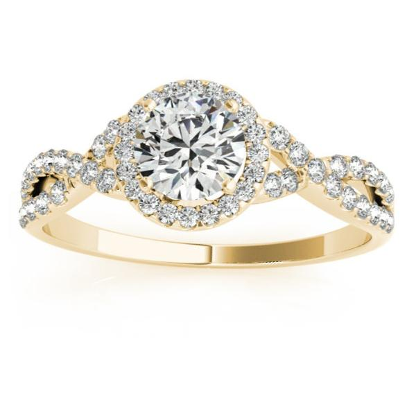 Twisted Infinity Halo Engagement Ring Setting 14k Yellow Gold 020ct