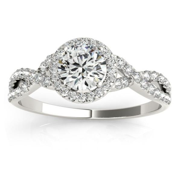 8177825a5 Twisted Infinity Halo Engagement Ring Setting 18k White Gold 0.20ct ...
