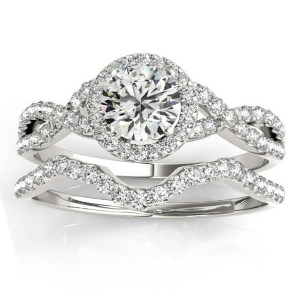 Twisted Infinity Engagement Ring Bridal Set 14k White Gold 0 27ct