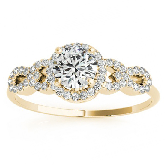 Halo Engagement Ring Setting, 4 Circles of Diamonds 14k Y. Gold 0.25ct