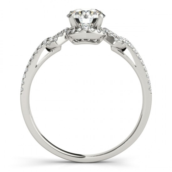 Diamond Engagement Ring Halo with Arrows 14k White Gold 0.38ct