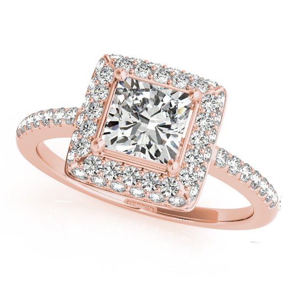 Cushion Cut Diamond Halo Engagement Ring 18k Rose Gold (2.00ct)