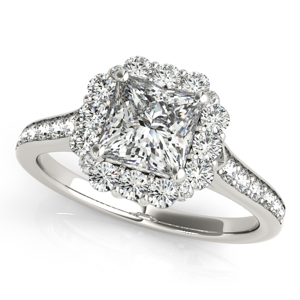 Princess Cut Floral Halo Diamond Engagement Ring 14k White Gold 1 38ct